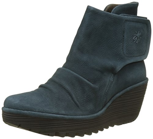 FLY London Damen Yomi765fly Stiefel, Blau (Reef), 39 EU (Fold Ankle Boot Over)