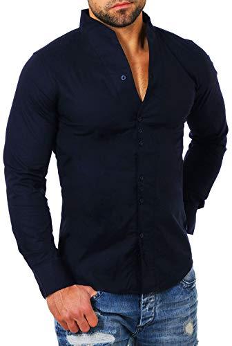 Carisma -  camicia casual - collo mao - maniche lunghe - uomo blu scuro x-large
