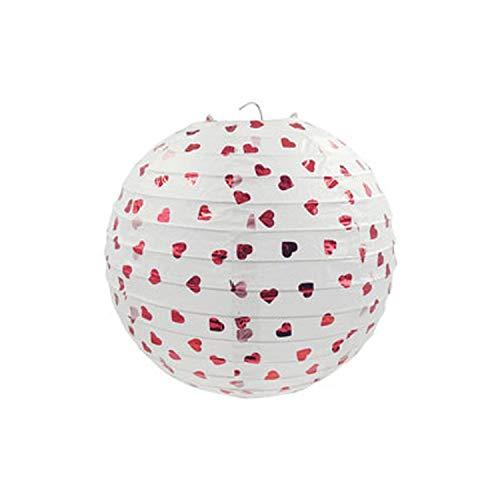 nen Hot Streifen Prägefolie Runde Lampe Runde für Hochzeit Geburtstag Party, 001 Weiß rotes Herz, 10inch ()