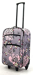 Lightweight Cabin Approved Wheeled Case Hand Luggage Small Trolley Travel Bag (Butterfly Pink & Grey)