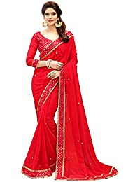 Glory Sarees Women's Georgette Saree(sukanya-mirror_red)