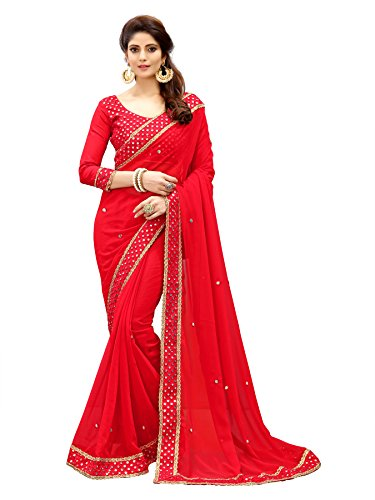 Glory Sarees Georgette With Blouse Piece (sukanya-mirror_Red_Free Size)