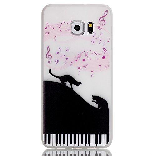 Voguecase® Per Apple iPhone 6/6S 4.7, Custodia Silicone Nottilucenti Morbido Flessibile TPU Custodia Case Cover Protettivo Skin Caso (pianoforte) Con Stilo Penna pianoforte gatto