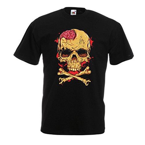 N4613 Männer T-Shirt der Schädel (XX-Large Schwarz Mehrfarben)