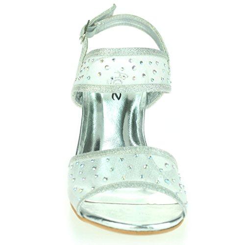 Frau Damen Mittlere Keilabsatz Diamant Detail Slingback Sommer Abend Party Hochzeit Abschlussball Braut Sandalen Schuhe Größe Silber
