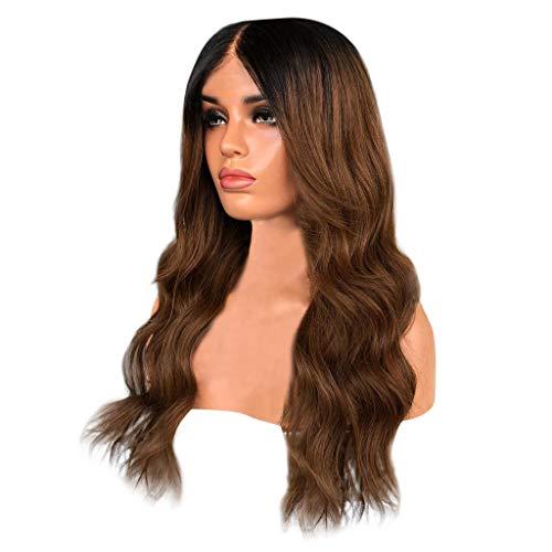 Fashion Synthetic Longue Vague Couleur Brun Noir Perruque Cheveux Naturelle Bouclés Naturels 65 cm 2019 Deguisement lace frontal wig Dégradé
