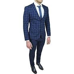 Abito completo uomo sartoriale blu quadri vestito elegante cerimonia (52)