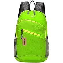 lethigho Packable ligero bolsa exterior Nylon impermeable viajes Packsack de la mochila senderismo escalada deportes Casual Backpack Mochila Verde verde