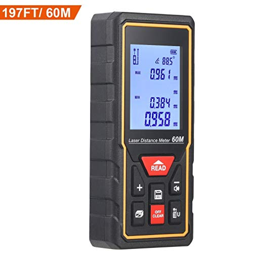 HD 60m Télémètre Laser Numérique Metre Laser,PREUP Mesure Laser Haute Précision, Batterie...