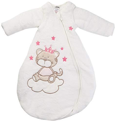 Jacky Mädchen Baby Winter Schlafsack Katze, Mit abnehmbaren Ärmeln, Wattiert, Alter: 2-6 Monate, Größe: 62/68, Farbe: Beige/Rosa, 350006