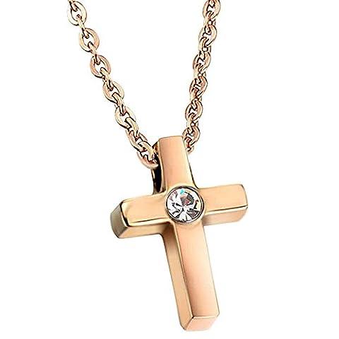 UM Schmuck Elegant Damen Rose Gold Edelstahl Kreuz Anh?nger Halskette mit Kette 41cm