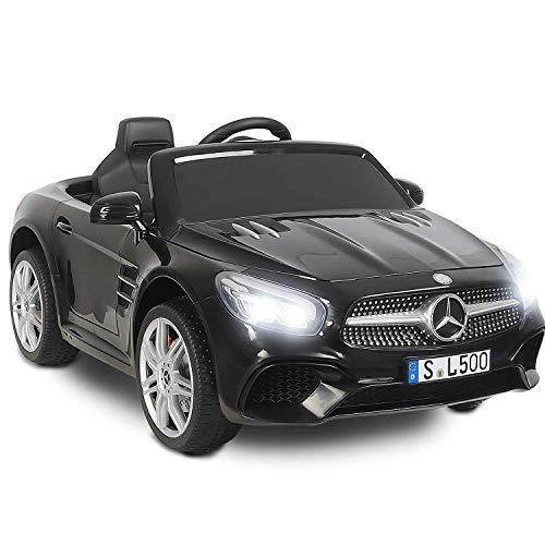 *UEnjoy Mercedes-Benz Kinderauto Kinderfahrzeug Elektro Spielzeug 12V Lizenziert SL500 AMG Roadster Kinder Fahrt-on Auto Electric w / Fernbedienung 3 Geschwindigkeiten LED-Leuchten,Schwarz*