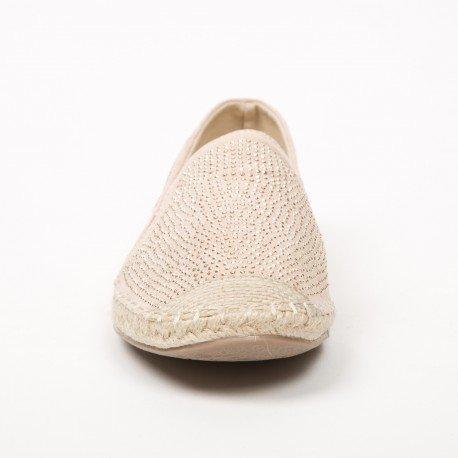 Ideal Shoes - Espadrilles à strass Mirella Beige