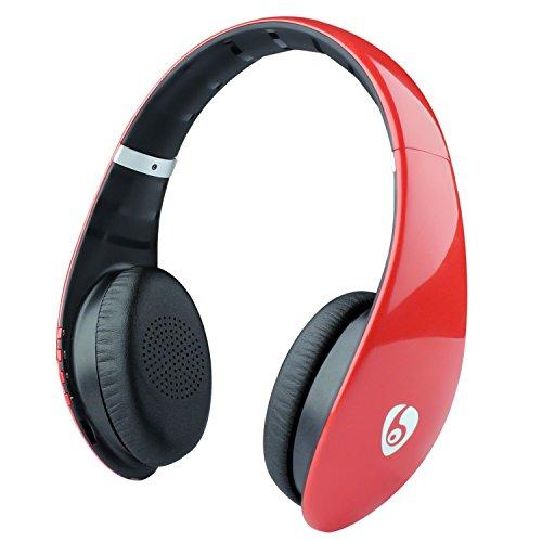 Auriculares Bluetooth Auriculares inalámbricos Hi-Fi estéreo con micrófono incorporado y soporte para altavoz Llamadas manos libres Tarjeta micro SD FM para escuchar música en casa Deportes Viajes - Rojo