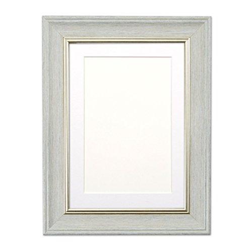 (Hellgrau mit Weiss Montierung Shabby Chic (SC) Bilder- / Fotorahmen - mit einem bruchsicheren Plexiglas aus Styrol für hohe Klarheit - 10 x 8 zoll für 8 x 6 zoll Bilder)