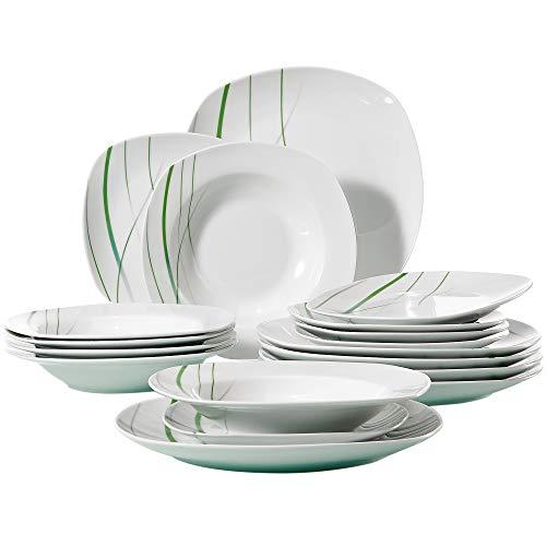 VEWEET Service de Table 'Aviva' 18 pièces en Porcelaine carré Blanc de Table Lot de 15,2 x 24,8 cm Assiette 15,2 x 19,1 cm Assiette à Dessert 15,2 x 21,6 cm Assiette Creuse