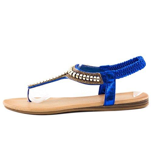 Stylische Damen Sommer Sandalen Zehentrenner Slipper mit Strass Blau