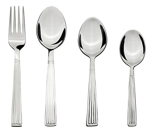 Solimo 24 piece Stainless Steel Cutlery Set, Stripes (Contains: 6 Table Spoons, 6 Tea Spoons, 6 Forks, 6 Dessert Spoons)