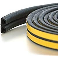 Quantum Garden 10m Assorted Profile Draught Excluder - EPDM Rubber Draught Seal and Foam for Window or Door (Profile D, Black)