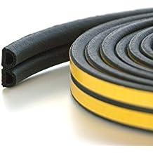 10 m varios burlete aislante para puertas y perfil - EPDM burlete de goma con la junta y la espuma para Puerta Ventana, silicona, negro, Profile D