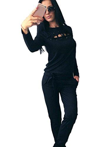 Mit Anzug Pullover (YiLianDa Damen Jogginganzug Langarm Anzug Pullover Sportanzug Trainingsanzug Sweatshirt Anzug mit Hose Schwarz)