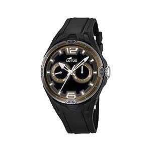 Lotus Reloj de Hombre de Cuarzo con Negro Esfera analógica Pantalla y