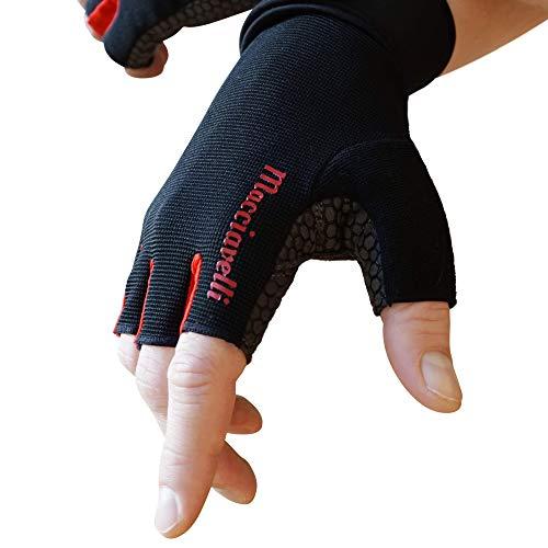 MACCIAVELLI Fitness Handschuhe Trainingshandschuhe Kraftsport (Schwarz | Rot, L)