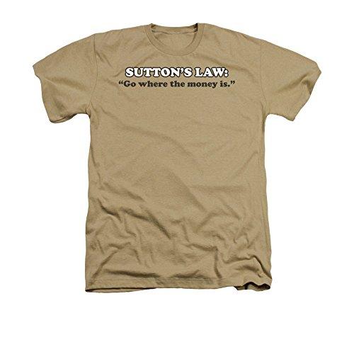 """2Bhip Sutton gesetz """"gehen, wo das geld ist"""" T-shirt für Herren X-Groß Beige (Erwachsene Gesetz T-shirt)"""