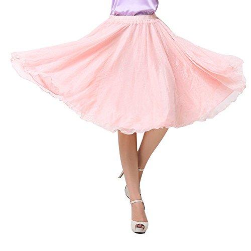 Falda de gasa para mujer hasta la rodilla  Nude Pink Talla única