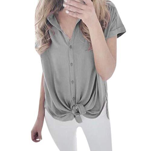 r Kurzarm Lässige Reine Farbe Tees Nette Sexy Lose Tops Bluse Kleidung Saum mit Knoten ()