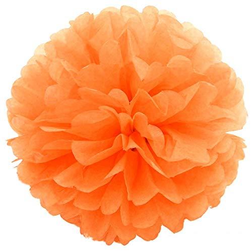 JZK 10 x Pompoms Pompons, 25cm Durchmesser, Seidenpapier blume Dekoration für Wohnzimmer Hochzeit Geburtstag Babyparty Kinder Party Weihnachten Silvester, hell orange