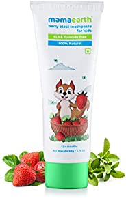 Mamaearth 100% Natural Berry Blast Kids Toothpaste 50 Gm, Fluoride Free, SLS Free, No Artificial Flavours, Bes