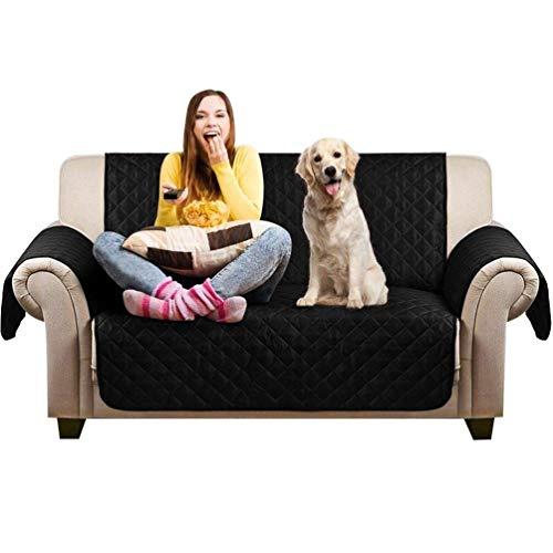 Petacc - Funda antideslizante para sofá de mascota, protector de muebles, impermeable, para perro, funda antideslizante, resistente a los arañazos,lavable a máquina, color negro
