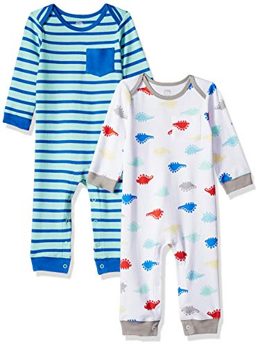 Amazon Essentials 2-Pack Coverall infant-and-toddler-layette-sets, Boy Dino, 3-6M Boy Set