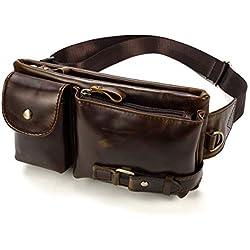 LUUFAN Riñonera de Cuero para Hombre Bolsa Running Hip Bum Belt Slim Pack Funda para Teléfono Celular para Exteriores, Compras y Viajes (Marrón Oscuro)