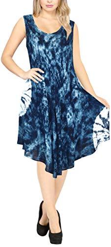 Herz Tie-dye-t-shirt (LA LEELA bestickte tie dye kurzes Strandkleid der Blume Frauen für Frauen-Bikini-beiläufige Miniumstandsmode ärmel Partei Sundress Plus Größe große hawaiische dr Navy blau_Y867 DE Größe: 42-50)