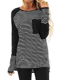 Wolfleague T-Shirt Femme Hiver Chaud Pullover Pas Cher A La Mode Tops  Rayure Col Rond Manches Longues Sweat-Shirt Beau Et éLéGant Chic… 5e11520c292a
