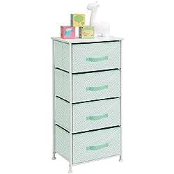 mDesign Kommode aus Stoff – praktischer Schrank Organizer mit 4 Schubladen – Aufbewahrungssystem für Schlafzimmer, Schlafsaal, Apartment und kleine Wohnräume – mintgrün/weiss