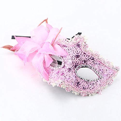 gante Augenmaske, Halloween Maskerade Vintage Gesichtsmaske mit Feder Blume Strass für Venezianische Maskerade Ball Prom Halloween Kostüm Pink ()