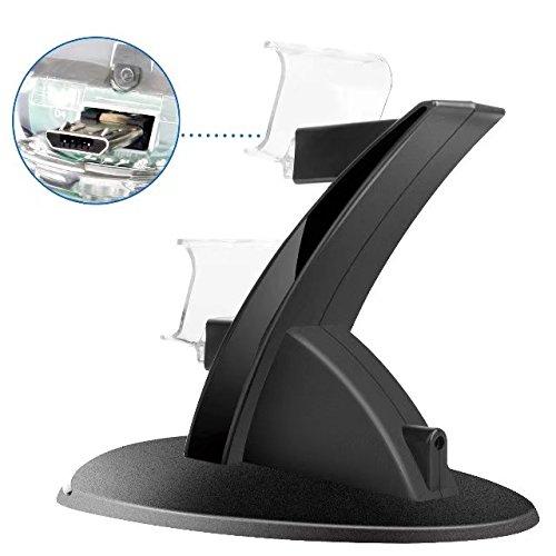 Musou Estación de carga rápida para mandos 2 en 1 para PS4 | Cargador de control doble / Cargador / Estación de acoplamiento / Estación de carga doble con bloque de alimentación
