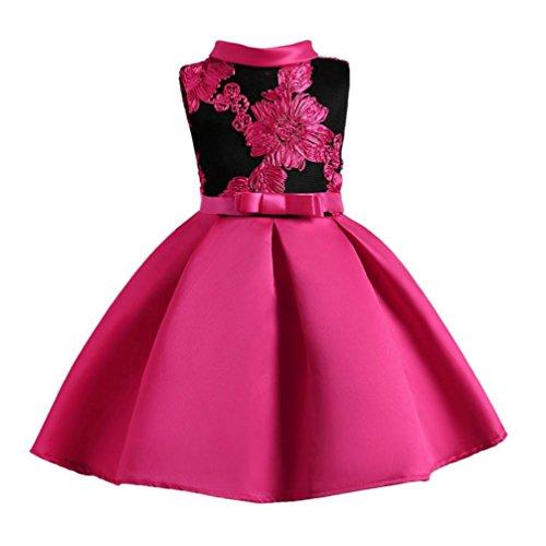 Longra Festliche Mädchen Kinderkleider Blumen Stickerei Kleider für Mädchen Prinzessin Kleid Hochzeits Brautjungfern Kleid Abendkleid Langes Kleid Cocktailkleid Ballkleid (Hot Pink, 90-100CM 3Jahre) (Kinder Hot Kleid Pink)