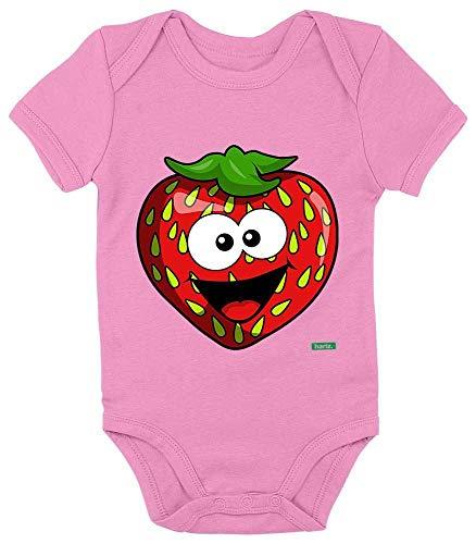 HARIZ Baby Body Kurzarm Erdbeere Lachend Früchte Sommer Inkl. Geschenk Karte Bubblegum Pink 0-3 Monate