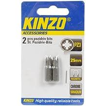 Kinzo 72034 - Puntas imantadas de cabeza cruciforme Pozidriv (2 unidades, PZ 3, 25 mm de largo)