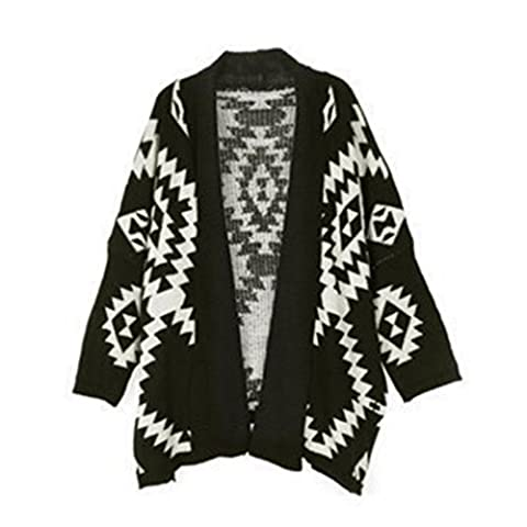 Honghu Casual Open Cardigan à Manches Longues Gilet Femme Mode Sweater Outwear Coat One Size Noir