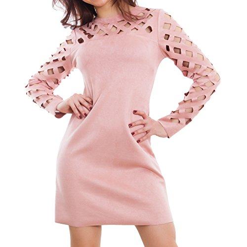 Toocool - Vestito donna scamosciato miniabito maniche traforate elegante sexy JP-18805 Rosa