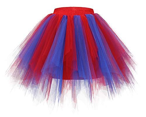 rock Tüllrock 50er Kurz Ballet Tanzkleid Unterkleid Cosplay Crinoline Petticoat für Rockabilly Kleid Royal Red S ()