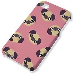 Carcasa para iPhone 4y 4S de cabeza de Pug/CARLINO Chibi Kawaii rosa