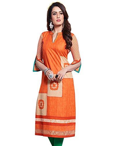 Jevi Prints Women's Unstitched Cotton Orange & Beige Geometric Printed Kurti Fabric...