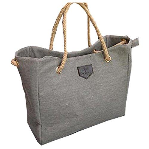 Hengsong Style Mode Toile Sac à contrat Grand Sac Shopping Bag Sac à bandoulière pour les Femmes Gris clair