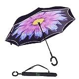 V.one Double Couche renforcé Parapluie inversé poignée en Forme de C Protection Contre Le Vent Protection UV étanche Stand Auto avec Sac de Transport pour Femmes Hommes Voiture Voyage en Plein air
